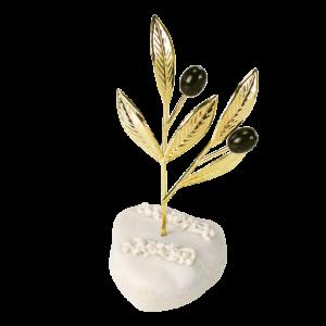 Μπομπονιέρα Γάμου Κλαδί Ελιάς Χρυσό σε Βότσαλο 82109A-195 Andronidis Ζητήστε προσφορά !!!!