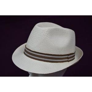 Καπέλο Ψάθινο με Καφέ - Γκρι Ρίγα (Καφέ) (Κωδ.592.512.001)