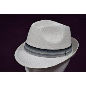 Καπέλο Ψάθινο με Μπλε - Γκρι Ρίγα (Γκρι Ανοιχτό) (Κωδ.592.512.001)