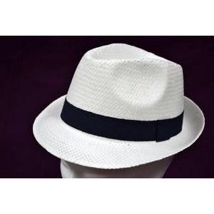 Καπέλο Ψάθινο με Μπλε Ρίγα (Άσπρο) (Κωδ.592.512.001)