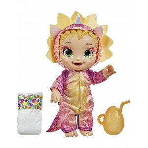 Baby Alive Dino Cuties Doll, Triceratops, Doll Accessories, Drinks, Wets, Triceratops Dinosaur (F0933)