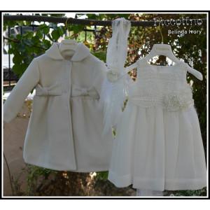 Ολοκληρωμένο σετ βάπτισης κορίτσι piccolino DR19F38 BELINDA IVORY-105 Με βαλίτσα rain η θρανίο παγκάκι!!!!