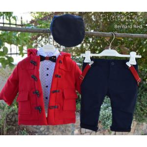 Ολοκληρωμένο σετ βάπτισηs αγόρι Piccolino Bernard Red AG19F17-140 Με βαλίτσα rain η θρανίο παγκάκι!!!!
