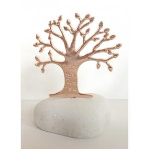 Μπομπονιέρες Γάμου Βότσαλο με Ροζ Χρυσό Δέντρο Ζωής με Ευχές ΒΑ35  Riniotis