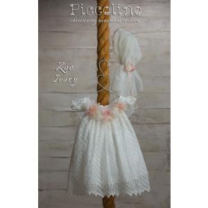 Ολοκληρωμένο πακέτο βάπτισηs με αυτό το φόρεμα (Piccolino ZOE #DR19S01-125#IVORY) Με βαλίτσα rain η παγκάκι θρανίο