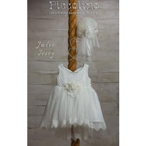 Ολοκληρωμένο πακέτο βάπτισηs με αυτό το φόρεμα (Piccolino JULIE #DR19S05-125#iVORY) Με βαλίτσα rain η παγκάκι θρανίο