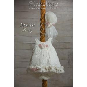 Ολοκληρωμένο πακέτο βάπτισηs με αυτό το φόρεμα (Piccolino MARGOT #DR18S08-125#iVORY) Με βαλίτσα rain η παγκάκι θρανίο