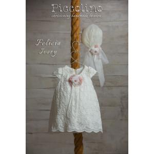 Ολοκληρωμένο πακέτο βάπτισηs με αυτό το φόρεμα (Piccolino FELICIA  #DR19S09-120#iVORY) Με βαλίτσα rain η παγκάκι θρανίο