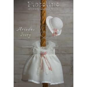 Ολοκληρωμένο πακέτο βάπτισηs με αυτό το φόρεμα (Piccolino ARIADNE #DR19S13-120#iVORY) Με βαλίτσα rain η παγκάκι θρανίο