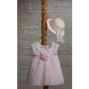Ολοκληρωμένο πακέτο βάπτισηs με αυτό το φόρεμα (Piccolino VIOLETTA  #DR19S15-126#iPINK) Με βαλίτσα rain η παγκάκι θρανίο