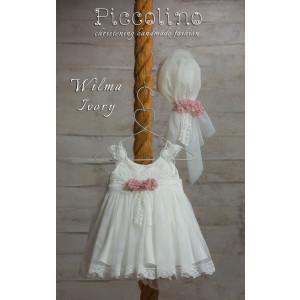 Ολοκληρωμένο πακέτο βάπτισηs με αυτό το φόρεμα (Piccolino WILMA  #DR19S16-120#iIVORY) Με βαλίτσα rain η παγκάκι θρανίο