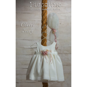 Ολοκληρωμένο πακέτο βάπτισηs με αυτό το φόρεμα (Piccolino CLAIRE #DR19S18-120#iVORY) Με βαλίτσα rain η παγκάκι θρανίο