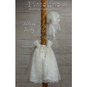 Ολοκληρωμένο πακέτο βάπτισηs με αυτό το φόρεμα (Piccolino SILVIA #DR19S22-126#iVORY) Με βαλίτσα rain η παγκάκι θρανίο
