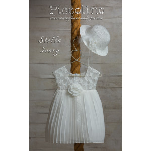Ολοκληρωμένο πακέτο βάπτισηs με αυτό το φόρεμα (Piccolino STELLA #DR18S23-120#iVORY) Με βαλίτσα rain η παγκάκι θρανίο