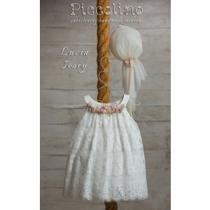 Ολοκληρωμένο πακέτο βάπτισηs με αυτό το φόρεμα (Piccolino LUCIA #DR19S27-125#iVORYPINK) Με βαλίτσα rain η παγκάκι θρανίο