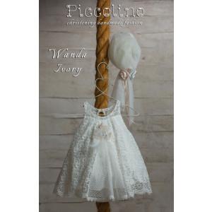 Ολοκληρωμένο πακέτο βάπτισηs με αυτό το φόρεμα (Piccolino WANDA #DR19S28-120#iVORY) Με βαλίτσα rain η παγκάκι θρανίο