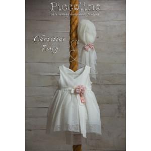 Ολοκληρωμένο πακέτο βάπτισηs με αυτό το φόρεμα (Piccolino CRISTINE #DR19S29 -125#iVORY) Με βαλίτσα rain η παγκάκι θρανίο