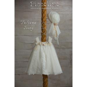 Ολοκληρωμένο πακέτο βάπτισηs με αυτό το φόρεμα (Piccolino TULIANA #DR19S33-126#iVORY) Με βαλίτσα rain η παγκάκι θρανίο