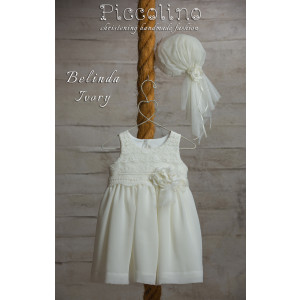 Ολοκληρωμένο πακέτο βάπτισηs με αυτό το φόρεμα (Piccolino BELINDA #DR19S38-125#iVORY) Με βαλίτσα rain η παγκάκι θρανίο