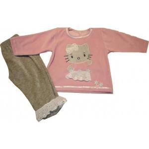 Πυζάμα Βελουτέ M/Μ Felicita Γάτα (Ροζ) (Κωδ.226.95.054)