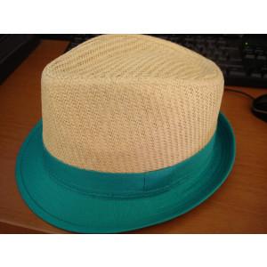 Καπέλο Ψάθινο με Πετρόν Ρίγα (Πετρόλ) (Κωδ.007.511.001)