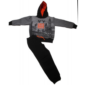 Φόρμα Φούτερ με κουκούλα (Μαύρο) (Κωδ.118.040.003+13)