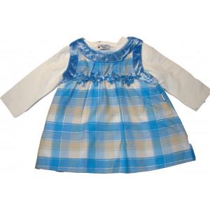 Φόρεμα μπλούζα καρώ βρεφικό σιέλ 291.130.259. Εβίτα 16742