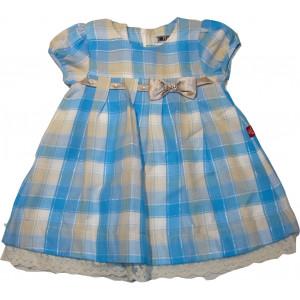 Φόρεμα Κ/M Καρώ (Σιελ) (Κωδ.291.86.404)
