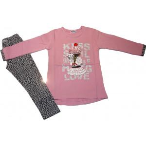 Μπλουζοφόρεμα & Κολάν (Ροζ) (Κωδ.291.86.372)