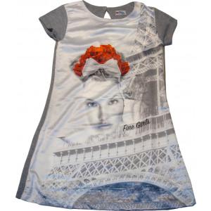 Φόρεμα Κοντομάνικο Εβίτα Γκρι 163133