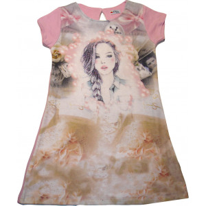 Φόρεμα Κοντομάνικο Εβίτα Ροζ 163133