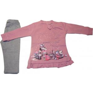 Μπλουζοφόρεμα & Κολάν (Ροζ) (Κωδ.291.130.278)