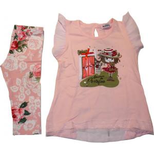 Μπλουζοφόρεμα & Κολάν (Ροζ) (Κωδ.291.87.167)