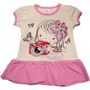 Φόρεμα Κοντό Μανίκι Βρεφικό Ροζ 582.130.014