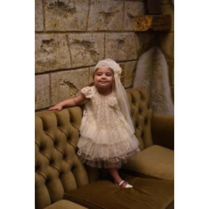 Ολοκληρωμένο πακέτο βάπτισηs με αυτό το Φόρεμα (Baby bloom Κωδ.118.165-105) Με βαλίτσα rain η παγκάκι θρανίο προσφορά!!!!!!!
