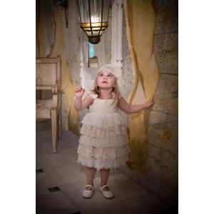 Ολοκληρωμένο πακέτο βάπτισηs με αυτό το φόρεμα (Baby bloom Κωδ.118.142-106) Με βαλίτσα rain η παγκάκι θρανίο προσφορά!!!!!!!