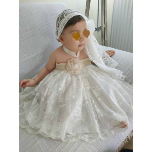 Ολοκληρωμένο πακέτο βάπτισηs με αυτό το Φόρεμα strapless (Κωδ.17119-1) Με βαλίτσα rain η θρανίο παγκάκι Προσφορά !!!!!!!