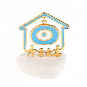 Μπομπονιέρα Βάπτισης Σπιτάκι Χαρούμενη Οικογένεια με Μάτι σε Βότσαλο 61201Α-188 Andronidis Ζητήστε προσφορά !!!!
