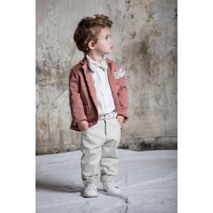 Σετ με σακάκι σάπιο μήλο, γκρι παντελόνι, λευκό πουκάμισο. (Baby u Rock.50551-290)