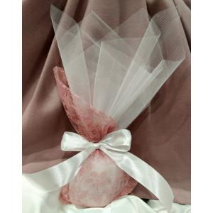 Μπομπονιέρα γάμου τούλινη με πουγκί δαντέλα  (κωδ.3510-23)
