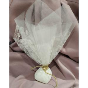 Μπομπονιέρα γάμου τούλινη με δαντέλα (κωδ.3511-23)
