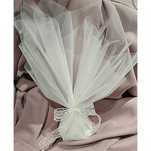 Μπομπονιέρα γάμου τούλινη με κορδέλα δαντέλα (κωδ.3512-23)