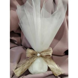 Μπομπονιέρα γάμου τούλινη με κορδέλα δαντέλα (κωδ.3515-23)