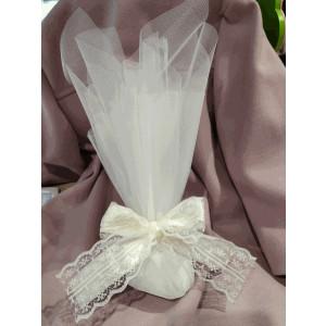 Μπομπονιέρα γάμου τούλινη με κορδέλα δαντέλα (κωδ.3516-23)