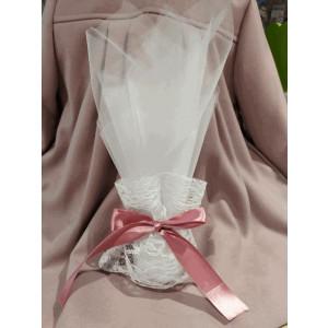 Μπομπονιέρα γάμου τούλινη με πουγκί δαντέλα (κωδ.3517-23)
