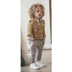 Baby u Rock. Λινό used perfecto με μεταλλικές λεπτομέρειες , πτι καρό χαμηλοκάβαλο παντελόνι σε γκρί αποχρώσεις & διακριτικά στοιχεία , εμπριμέ πουκάμισο σε ίσια γραμμή με κρυφή πατιλέτα (SS17/500719)