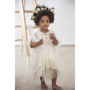Πλεκτή ασύμμετρη ζακέτα με βαμβακερά κρόσια , empire λινό jersey  φόρεμα με plisse ασύμμετρα βολάν και δαντελένιο motif και εσπαντριγιές. (Baby u Rock.500756)