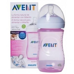 Avent Natural, Πλαστικό Μπιμπερό Ροζ SCF694/17 με Θηλή Αργής Ροής 260ml, narlis.gr