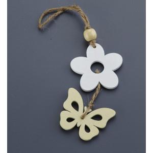 Μπομπονιέρες Βάπτισης Ξύλινη Πεταλούδα Λουλούδι NU1501 Nuova Vita