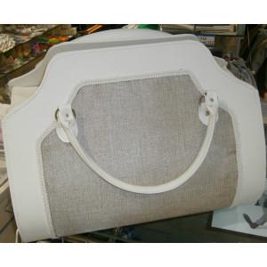 Τσάντα δερματίνη με καμβά (Κωδ.0003)
